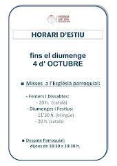 PRÒRROGA HORARIS D'ESTIU FINS EL 4 D'OCTUBRE