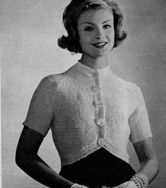 FREE PATTERN 1950's Knitting - A Simple White Bolero