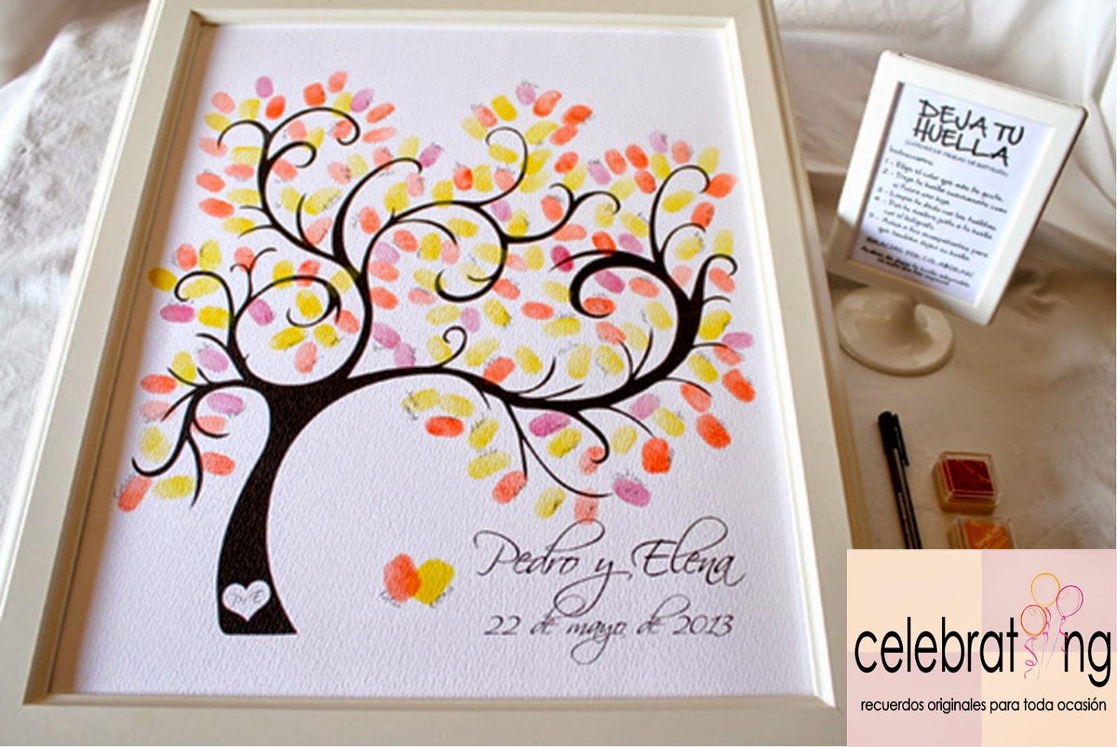 Celebrating rbol de huellas para bodas y celebraciones cuadros de firmas con huellas - Marcos para fotos economicos ...
