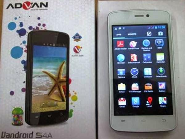 Harga Advan Vandroid S4A+ dan Spesifikasi, Smartphone Quad-core