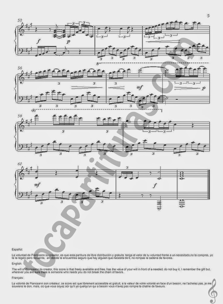4 Partitura de Piano de Lágrimas de Seda por Piano San. Tears Silk Sheet Music for Piano