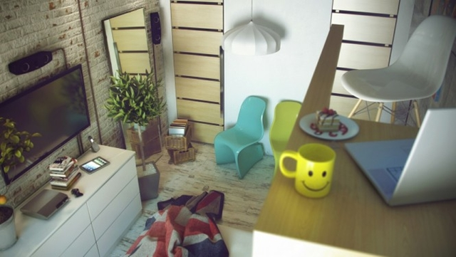 Living room visualization of Raw Loft Visualization by Maxim Zhukov