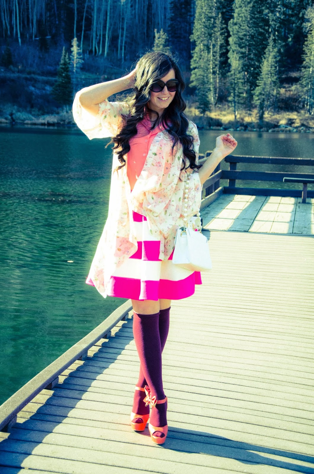 brighton resort, everyone wears pink on wednesdays, pink skater skirt, silver lake, floral kimono, pink striped skirt, bow wedges, pink wedges, thigh high socks, breast cancer awareness,