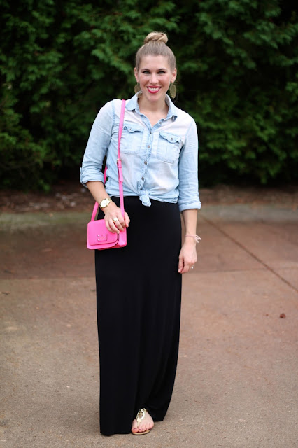 black maxi dress and chambray