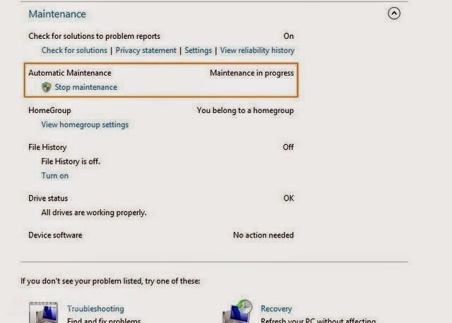 Tips Menjalankan dan Menghentikan Automatic Maintenance dengan Manual di Windows 8