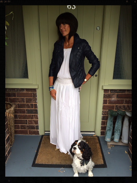 Styling a Maxi Dress With A Biker Jacket, My Midlife Fashion, Pia Jewellery, Maxi Dress, Mango, Hipanema Bracelet, Kurt Geiger Sandals, Marks and Spencer Biker Jacket