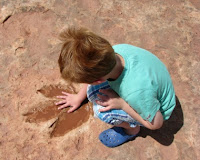 Dinosaur tracks - Tuba City - Shaking hands with history
