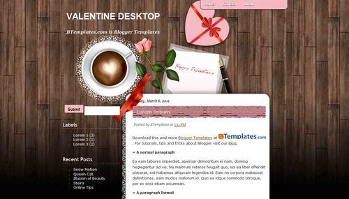Valentine Desktop - Free Blogger Template