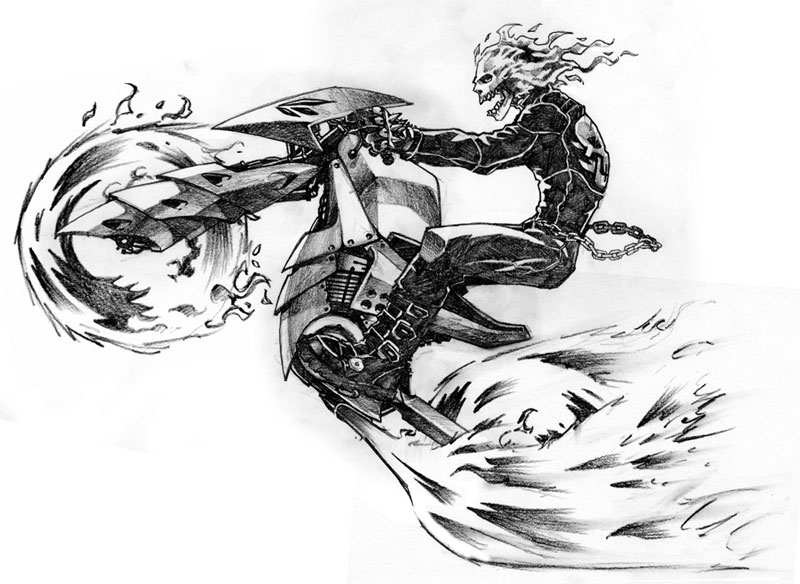 how to draw ghost rider bike