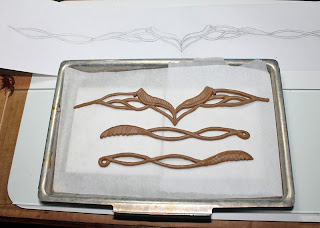Elrond circlet clay form ready for baking.
