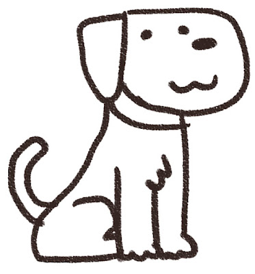 犬のイラスト(動物) 白黒線画