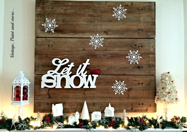 Vintage, Paint and more... mantel decor with snow theme interspersed with pops of red