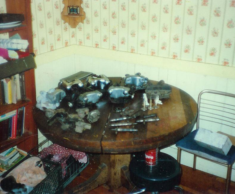 Harley Knucklehead motor parts on kitchen table