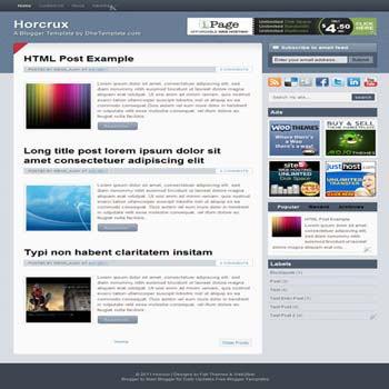 Horcrux blogger template. convert wordpress theme to blogger template. template blogger elegant 2 column