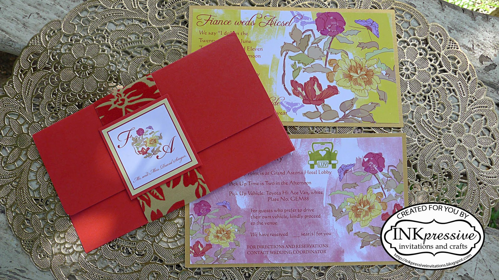 Reds and Florals Wedding Invitation | INKPRESSIVE INVITATIONS