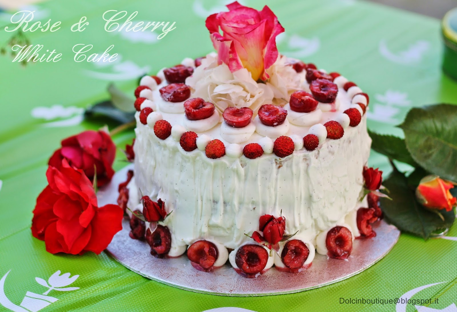white rose & cherry cake  re-cake 8