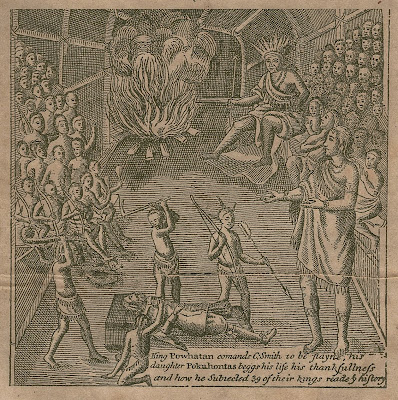 Engraving from 1600s showing Captain John Smith and being saved by Pocahontas