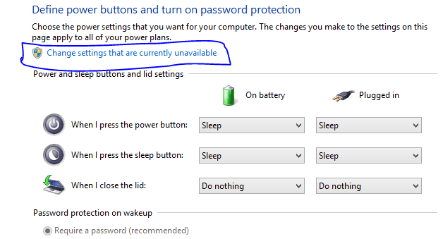 windows 8 and 8.1 power setting