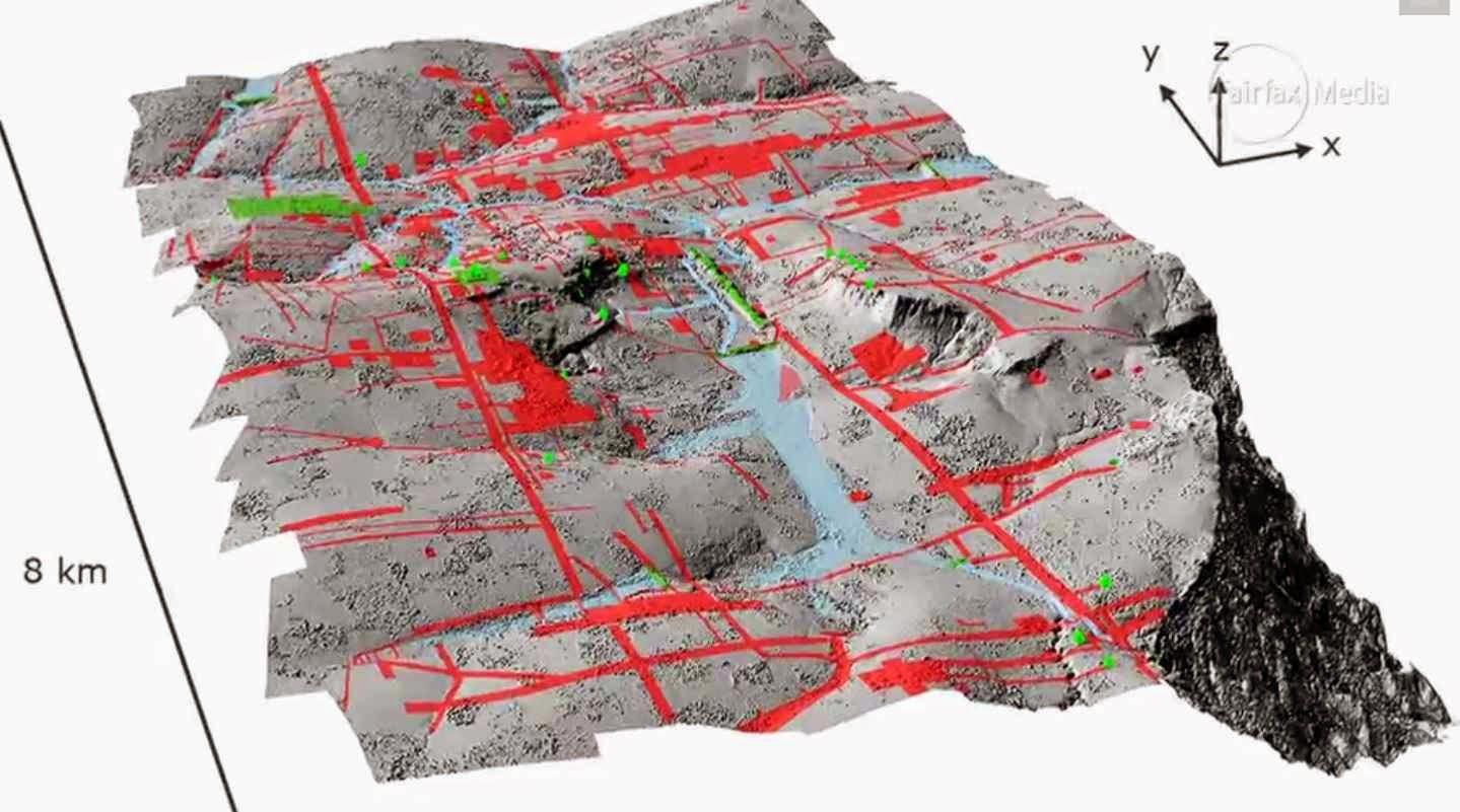 A infraestrutura da cidade sob a selva analisada com raios laser