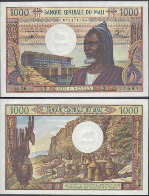 Mali 1000 Francs 1970 P# 13b