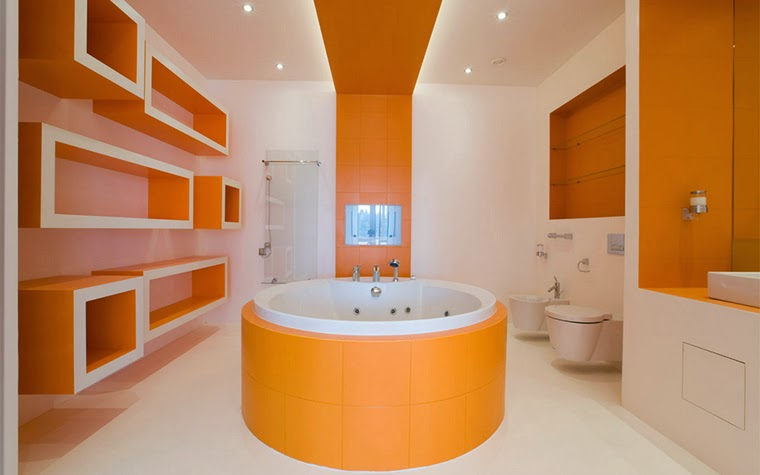 10 modern bathroom designs and ideas in orange color for Modern bathroom colors ideas photos