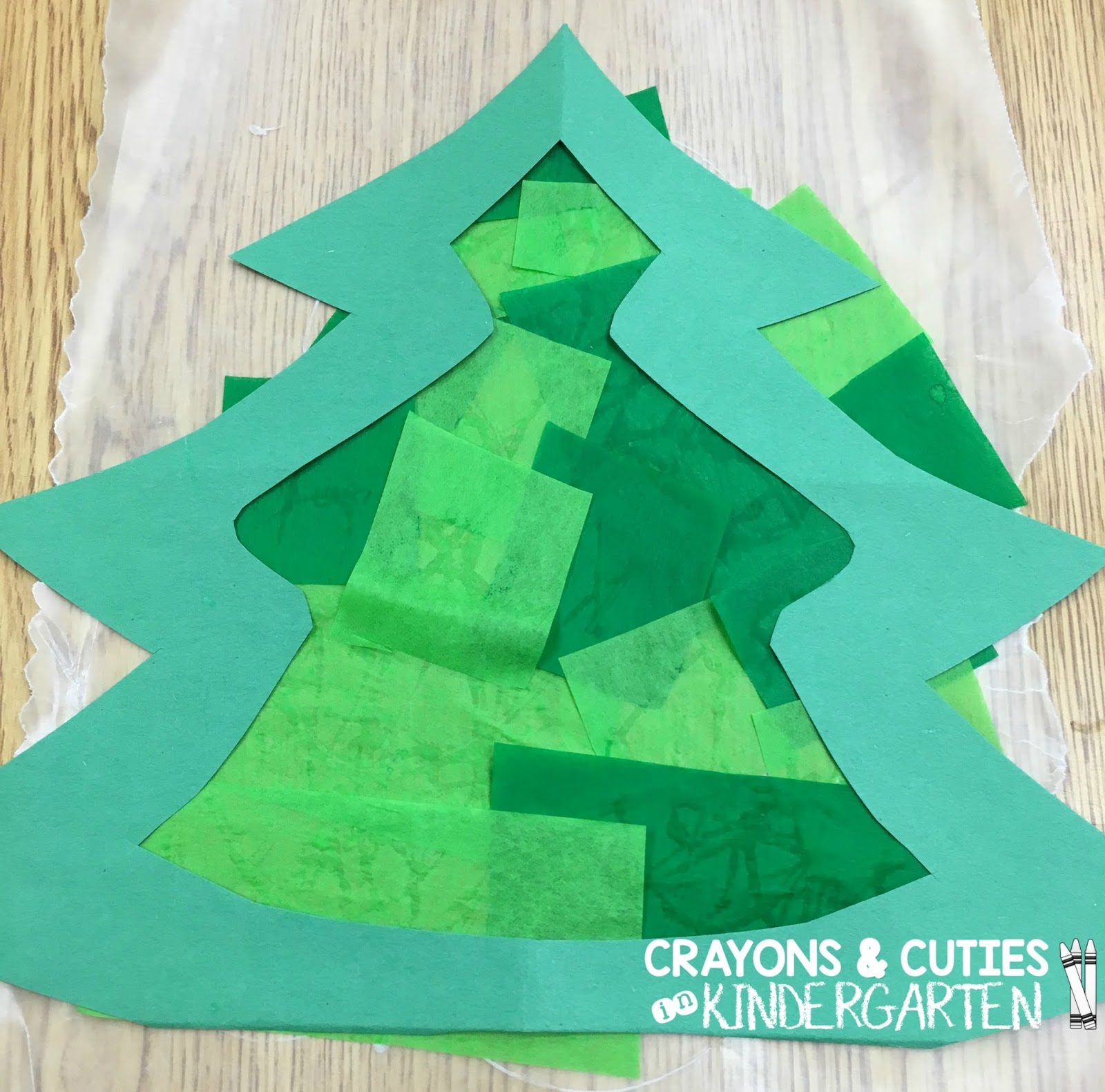 Crayons & Cuties In Kindergarten: Christmas Tree Stained Glass Craft