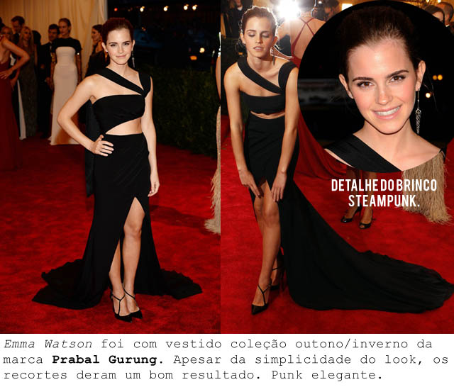 MET BALL 2013-ALTA COSTURA PUNK-Emma Watson-steampunk-brinco-vestido com recortes