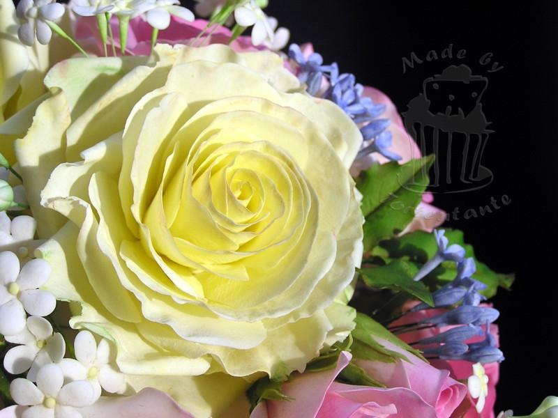 Hochzeit Wedding Cake Torte Fondant Zuckerrose Blütenpaste