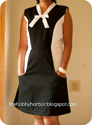 Color blocked black and white burdastyle dress