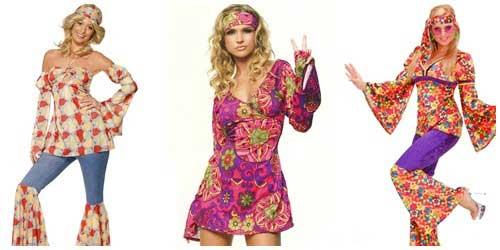 Disfraz casero de hippie para mujer collage