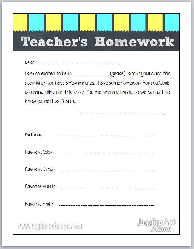 Teacher\'s Homework - Back to School Printable - Juggling Act Mama