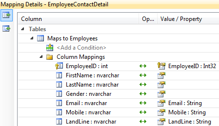 table mapping in entity framework