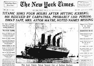 El desastre del Titanic, portada del The New York Times