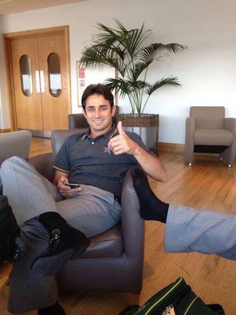 Pakistani Cricket Team in London Gatwick Airport - Saeed Ajmal