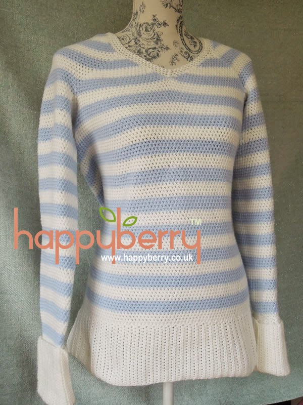Crochet Jumper Patterns Uk : Happy Berry Crochet: Ladies Stripey Sweater Crochet Pattern to fit UK ...