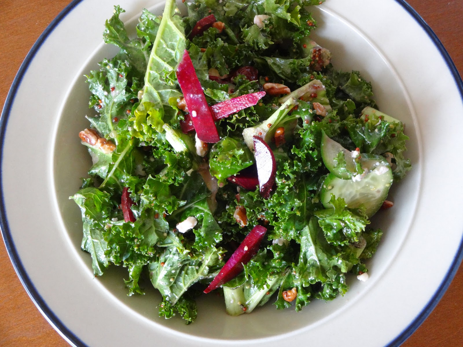 Kale Salad With Cherries And Pecans Recipe — Dishmaps