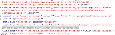 Contoh pemasangan rel=canonical pada official blog google adsense yang ber-alamatkan di www.adsense.blogspot.com