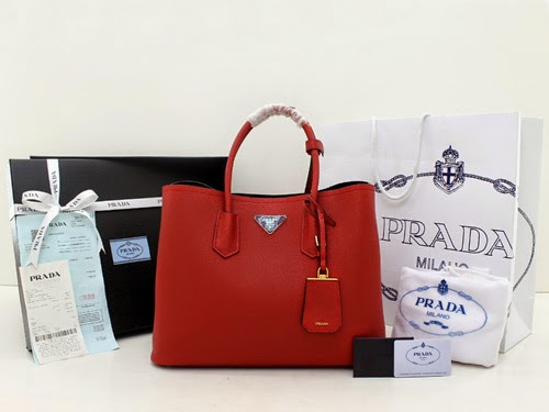 orange leather prada handbag - Prada Saffiano Cuir Tote Double Bag Red Mirror ORI / ORI LEATHER ...