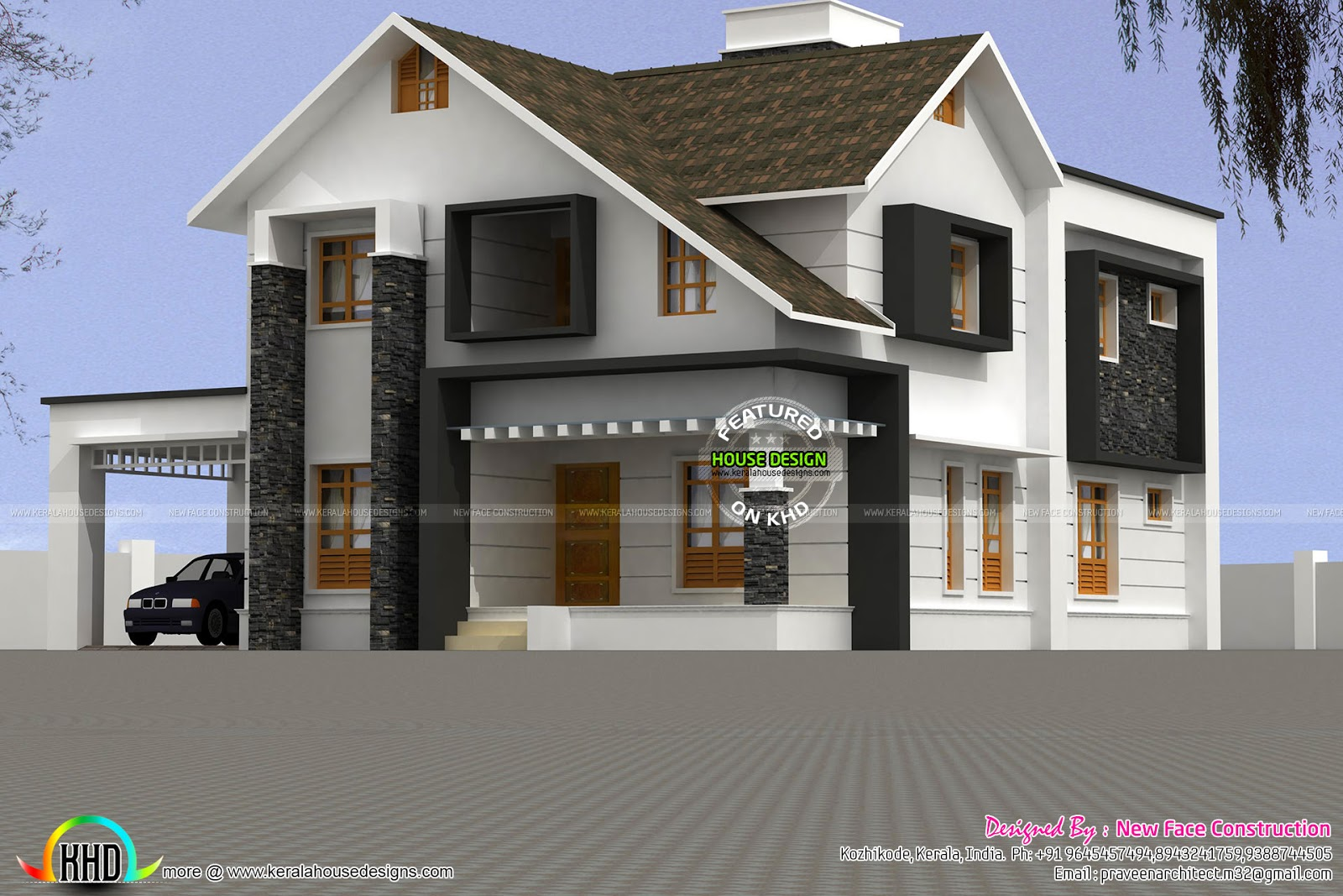 Sloping Roof House Plan In 2981 Sq Ft Kerala Home Design