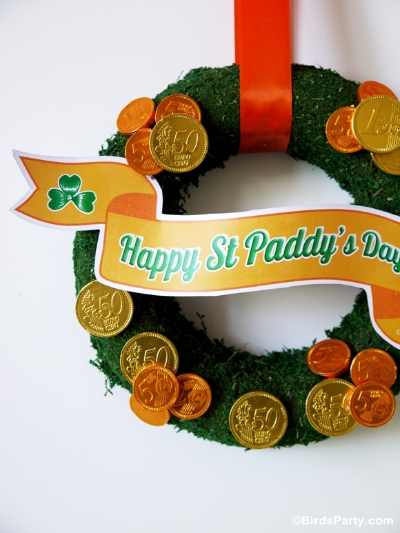 FREE Party Printables: St Patrick's Day Mini Banner & Last Minute Wreath Tutorial