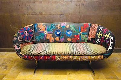 sofa restaurado em tecido