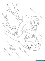 Mewarnai Gambar Aang Bermain Dengan Seekor Ikan Raksasa