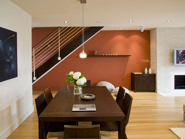 Luxury bedroom ideas modern dining room in orange color for Modern dining room color ideas