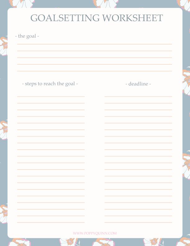 2016 Goal Setting Printable Worksheet | Calendar Template 2016