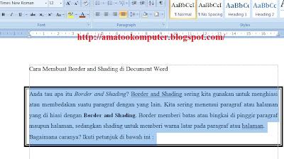 Cara Membuat Border and Shading di Document Word, Border and Shading