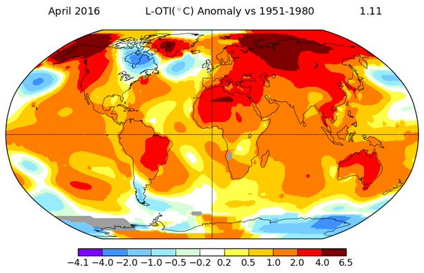 Warmest April on record: Beats the previous record by largest margin ever: 7-month hot streak...