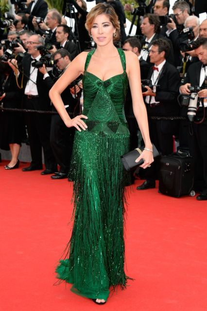 Aida Yespica in a green Roberto Cavalli gown at Cannes 2014