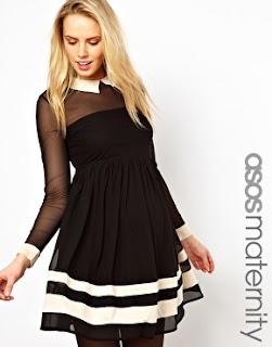 ASOS, ASOS Maternity, Black, Collar, Contrast, Cream, Dress, Hem Detail, Long Sleeve, Mesh, Monochrome, Print, Rochelle Humes, Sheer, Skater Dress, Striped, The Saturdays,