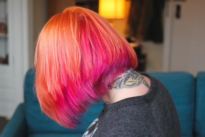 orange and pink hair