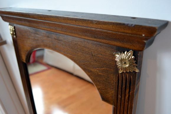 Wooden Mirror Gold Details